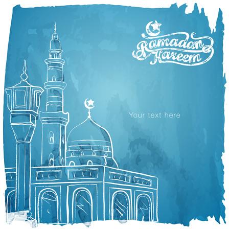 라마단 카림 이슬람 인사말 수채화 스케치 배경