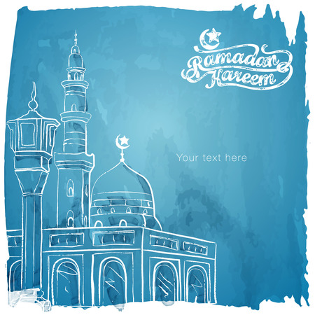 Ramadan Kareem islamic greeting watercolor sketch background Illusztráció