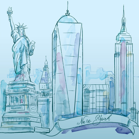 iconic architecture: New York iconic building vector watercolor sketch - city architecture Illustration