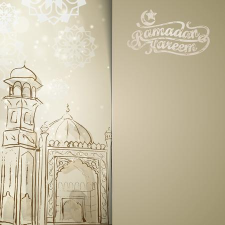 greetings card: Ramadan Kareem islamic vector design background Illustration