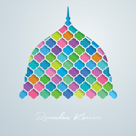 Mosque dome vector colorful mosaic Ramadan Kareem