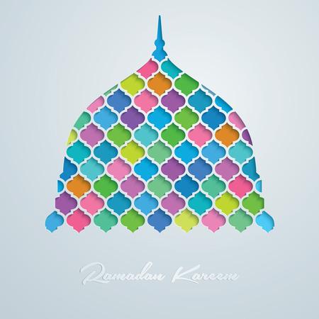 모스크 돔 벡터 다채로운 모자이크 라마단 카림
