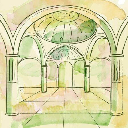 brosse Aquarelle effet mosquée intérieur islamic design background
