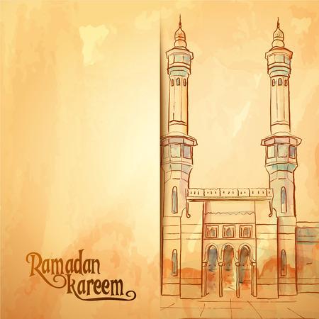 Aquarel moskee schets Ramadan Kareem wenskaart achtergrond Stock Illustratie