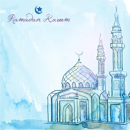 Ramadan Kareem greeting background mosque watercolor sketch