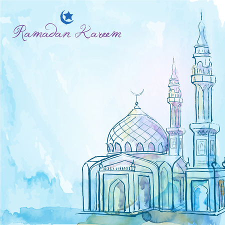 Ramadan Kareem greeting background mosque watercolor sketch