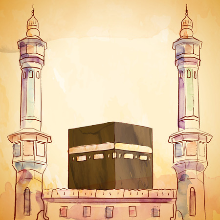 pilgrimage: Kaaba and haram mosque illustration with vector watercolor brush and ink sketch