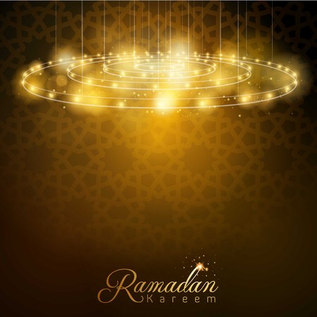 Ramadan Kareem glow lamp with arabic geometric pattern