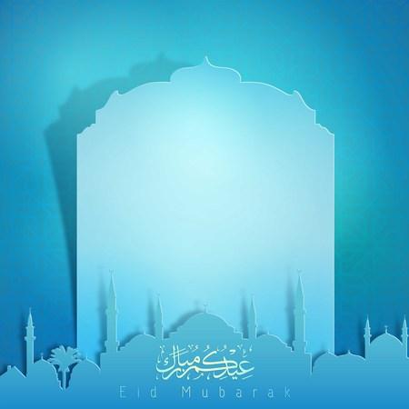 与清真寺剪影的Eid穆巴拉克贺卡模板