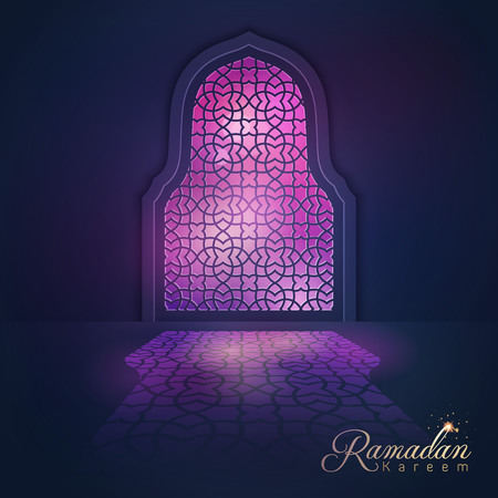 islamic: Ramadan Kareem greeting background light mosque window