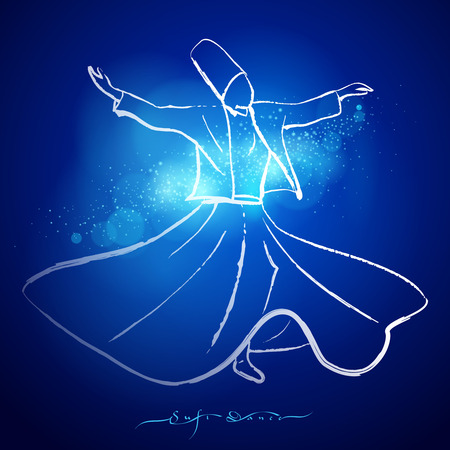 sufism: Sufi dance whirling dervish ink line sketch