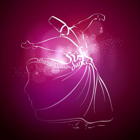 Sufi dance Whirling dervish line vector sketch Illustration