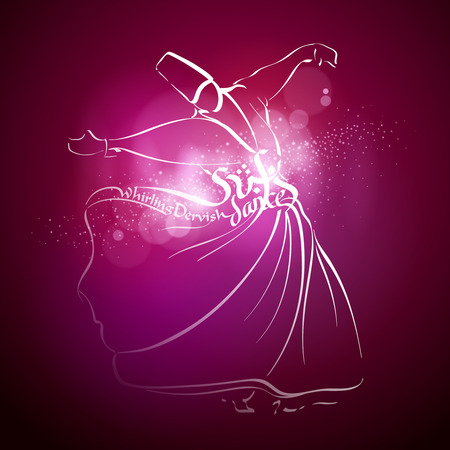 sufism: Sufi dance Whirling dervish line vector sketch Illustration