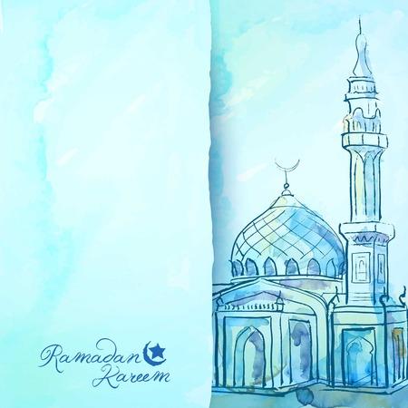 인사말 카드 서식 파일에 대 한 라마단 배경 수채화 사원 스케치 일러스트