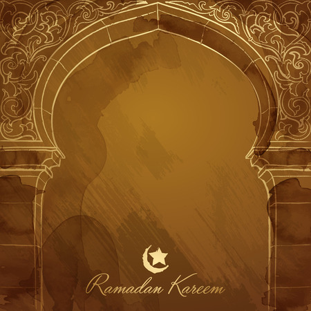 lantern festival: Ramadan background design mosque door ink sketch