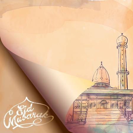 Eid Mubarak Gruß Hintergrund Moschee Skizze auf Papier Falten Standard-Bild - 57004931