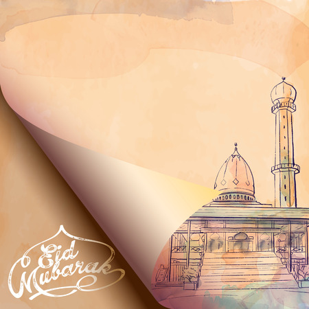 Eid Mubarak greeting background mosque sketch on folding paper Illustration