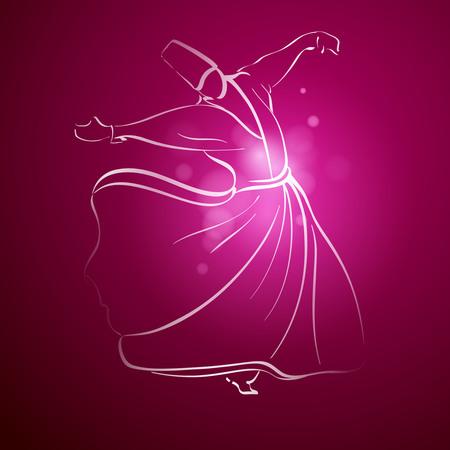 Sufi Whirling Dervish religous dance line sketch Illustration