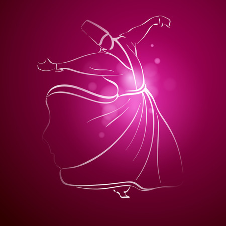 sufism: Sufi Whirling Dervish religous dance line sketch Illustration