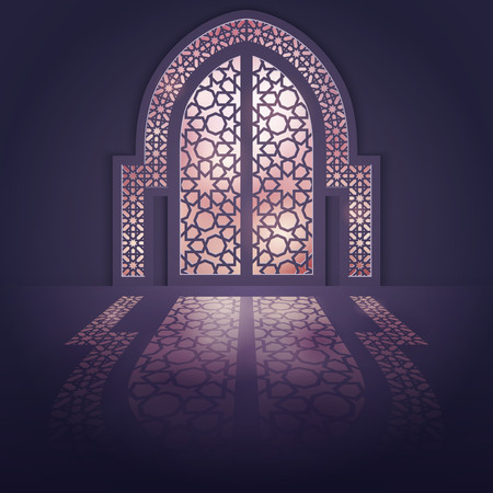 Islamic design background mosque door background with light arabic pattern shadow