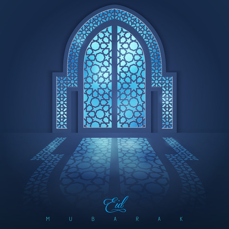 Moskee deur met Arabisch patroon voor Eid Muabrak groet achtergrond
