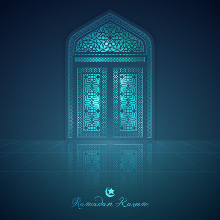 Ramadan Kareem greeting background mosque door with arabic pattern