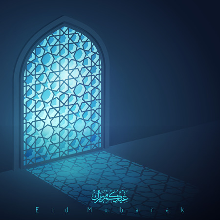 Eid Mubarak islamic design greeting background mosque window with arabic pattern