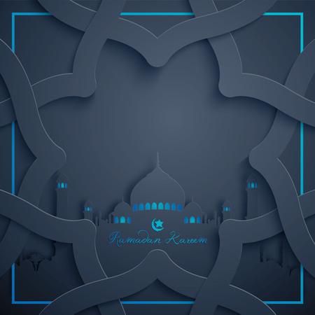 アラビア語のパターンでラマダン カリーム背景イスラム挨拶デザイン  イラスト・ベクター素材
