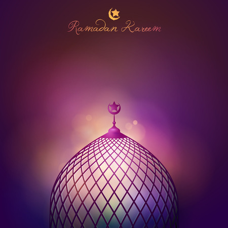 dome: Ramadan Kareem mosque dome for islamic greeting banner background Illustration