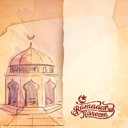Islamic mosque vector watercolor sketch for Ramadan Kareem Background
