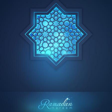 Ramadan Kareem-moskeevenster met Arabisch patroon voor Islamitische groet en banner vectorachtergrond Stock Illustratie