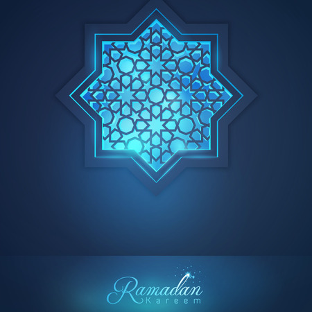 Ramadan Kareem mosque window with arabic pattern for islamic greeting and banner vector background