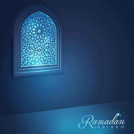 arabic background: Ramadan Kareem Mosque window for islamic vector greeting background Illustration