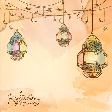 ラマダン カリーム アラビア語ランタン星と三日月のデザインの背景に挨拶するためスケッチします。