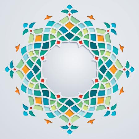 アラビア語の円の幾何学的な飾りのカラフルなモザイクをパターンします。 写真素材 - 56890824