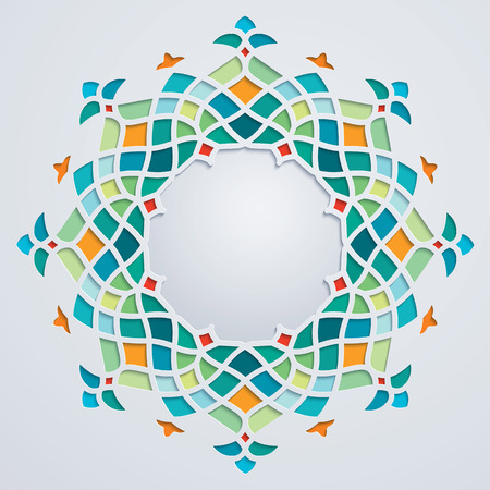 Arabic pattern circle geometric ornament colorful mosaic