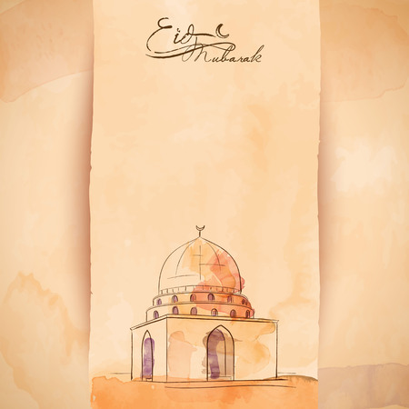 Eid Mubarak greeting banner background islamic mosque watercolor and ink sketch