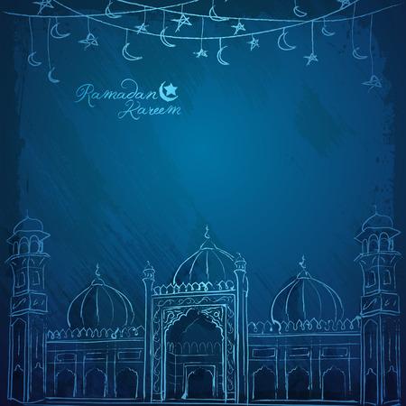 Ramadan Kareem vector mosque line sketch for greeting background