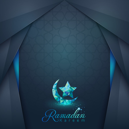 hajj: Ramadan Kareem islamic design greeting card and banner background Illustration