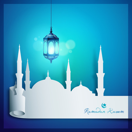 Ramadan Kareem Vector Mosque Papercut Style for islamic greeting background