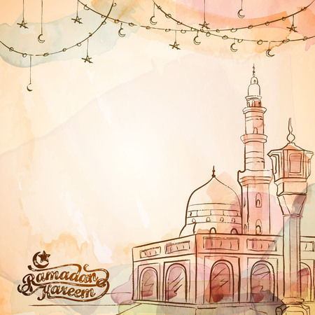 Ramadan Kareem vector watercolor banner and greeting template background