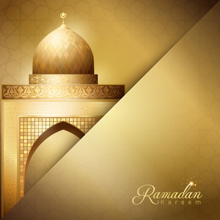 greetings card: Gold Mosque illustration for Ramadan Kareem greeting background template