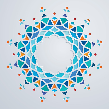 Arabic colorful round pattern circle ornament mosaic