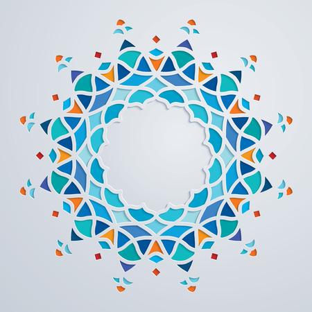 阿拉伯文五颜六色的圆形图案圈子装饰马赛克