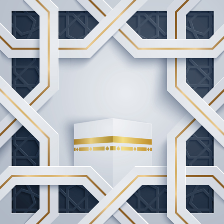 Islamic Hajj (pilgrimage) greeting card arabic ornament pattern with kaaba 向量圖像