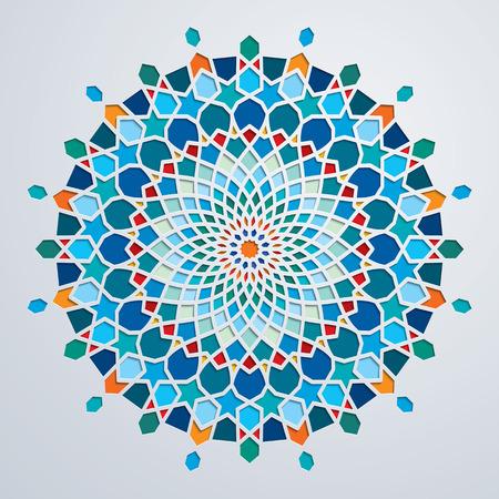 Arabic circle geometric pattern colorful mosaic