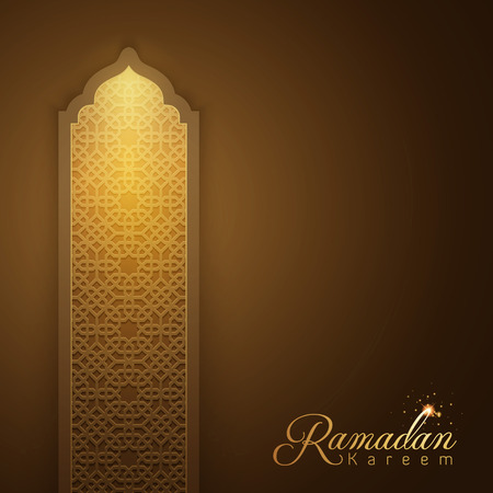 Ramadan Kareem glow arabic pattern window greeting card background Illustration