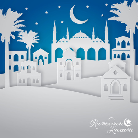 Ramadan Kareem islamic greeting background arabic landscape city view