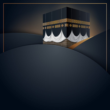 Islamic vector design kaaba icon for Hajj and Ramadan or Eid greeting card template