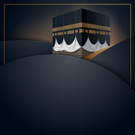 Islamitische vector ontwerp kaaba pictogram voor Hajj en Ramadan of Eid wenskaartsjabloon